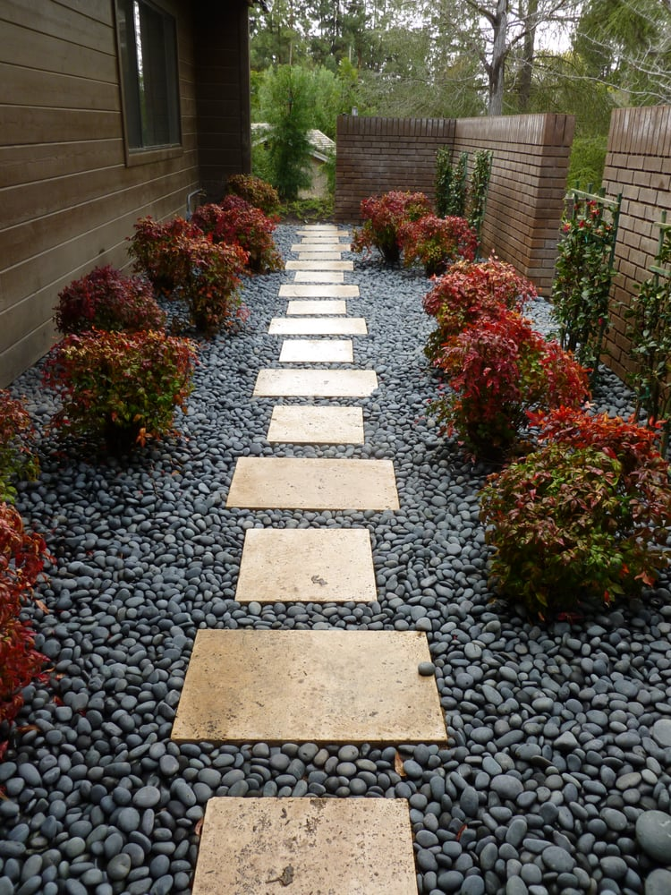 This small courtyard serves as access to the side yard - Small yard landscape design ...