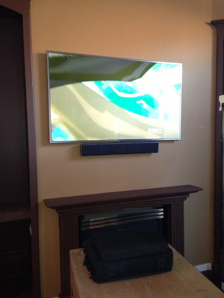 Tv And Sound Bar Above Fireplace Yelp